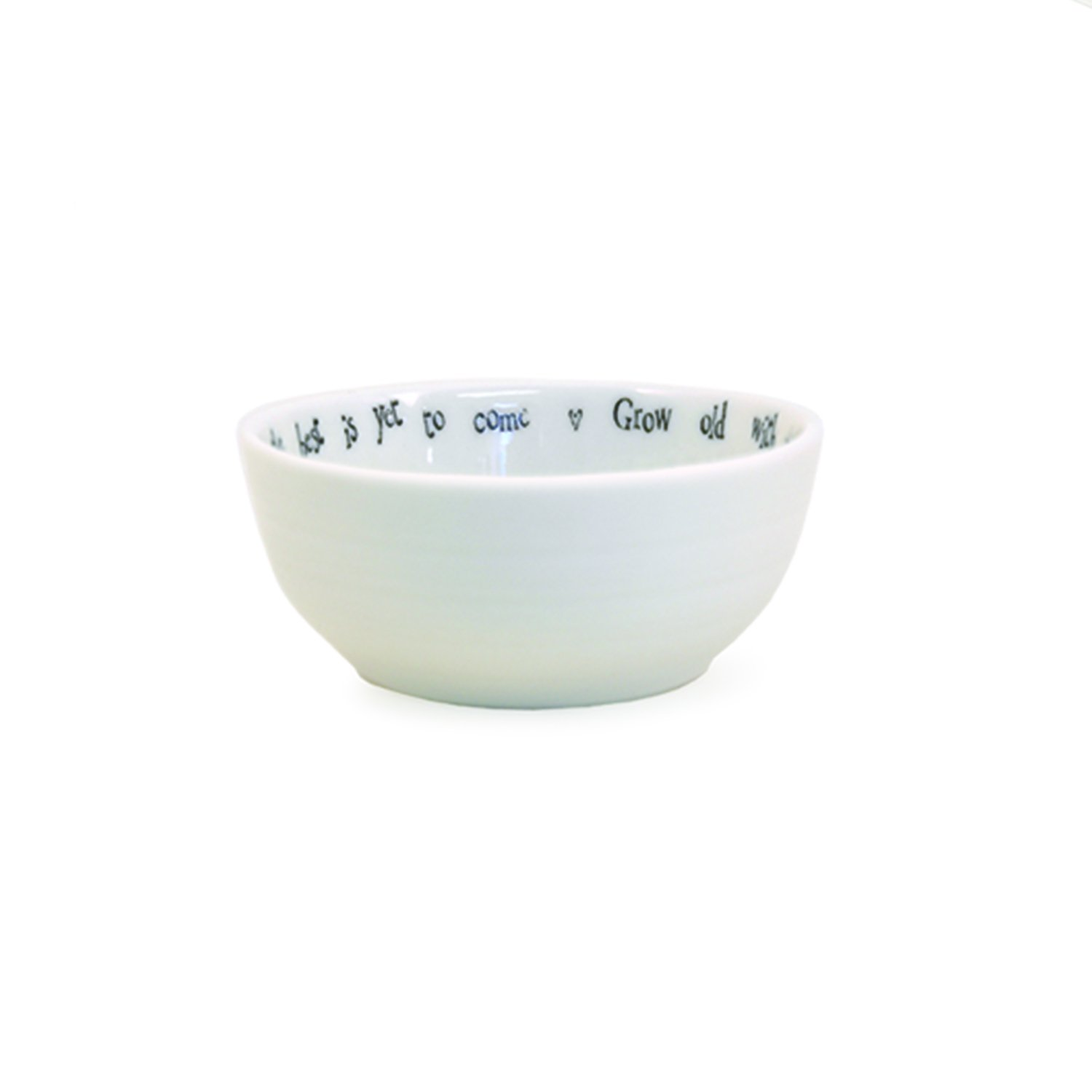 White Twos Company Grow Old with Me Bowl