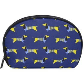 化粧ポーチ 化粧ポッチ 犬 ペット 個性的 ブルー バニティーポーチ 化粧袋 収納バッグ トイレタリーバ 旅行出張用 洗面用具 小物入れ