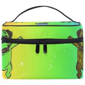 メイクポーチ カラフルのパグ 虹 化粧ポーチ 化粧箱 バニティポーチ コスメポーチ 化粧品 収納 雑貨 小物入れ 女性 超軽量 機能的 大容量