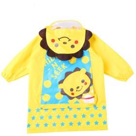 子供レインコート、男の子女の子レインスーツ子供レインジャケット雨ポンチョ防水レインウェアは、バックパックの位置を持っています、黄(S/2-4歳)