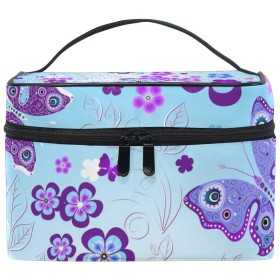 バララ (La Rose) 化粧箱 コスメポーチ 大容量 おしゃれ 機能的 かわいい 花柄 紫色 化粧ポーチ メイクポーチ 軽量 小物入れ 収納バッグ 女性 雑貨 プレゼント