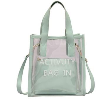Kofun クリアハンドルバッグ, 女性クリアPvc透明ゼリーハンドバッグトートメッセンジャークロスボディショルダーバッグ 緑