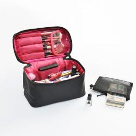 大容量 化粧ポーチ メイクボックス 収納バッグ 防水 多機能 ポータブル ウォッシュ バッグ な 化粧バッグ旅行 女性化粧品バッグ-レッドB 20x10x12cm(8x4x5inch)