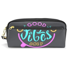 ALAZA Good Vibes Only Smile Face 鉛筆 ケース ジッパー Pu 革製 ペン バッグ 化粧品 化粧 バッグ ペン 文房具 ポーチ バッグ 大容量