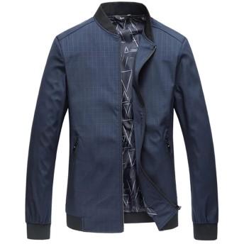 [eleitchtee] メンズ ジャケット メンズコート チェック柄 ブルゾン ジャンパー 大きいサイズ アウター 防寒コート 015-qtnz4025-6121(XL ネイビー)