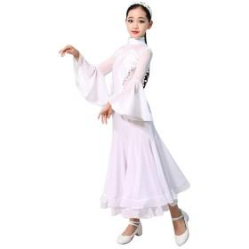 長袖 ハイネック  社交ダンス用ダンスドレス 単純な モダンタンゴ弾性ドレス (Color : White, Size : XL)