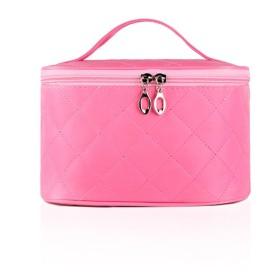 化粧バッグ 化粧ポーチ メイクボックス オーガナイザー バッグ トラベル ブラシ バッグ ボックス ミラー付き-ピンク 22x14x13cm(9x6x5inch)