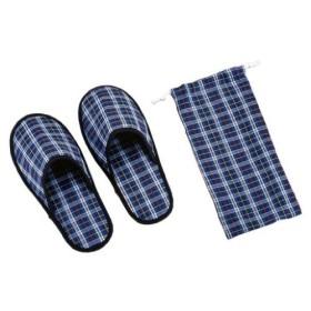 パール金属 携帯用 スリッパ 巾着袋付 27cm ブルー 旅プラン MT-5018