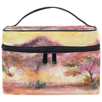 Anmumi 化粧ポーチ メイク ポーチ ボックス 収納ケース 仕切り 木 油絵 手提げ 大容量 かわいい おしゃれ レディース 女の子 小物入れ 旅行 出張 プレゼント