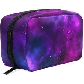 UOOYA おしゃれ 化粧ポーチ 紫色 銀河 星空 星柄 宇宙柄 軽量 持ち歩き メイクポーチ 人気 小物入れ 収納バッグ 通学 通勤 旅行用 プレゼント用