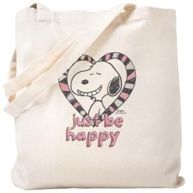 CafePress–Snoopy Just Be Happy–ナチュラルキャンバストートバッグ、布ショッピングバッグ S ベージュ 1587425734DECC2