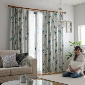 IN-FA-LA フレンチデザインカーテンシリーズ 2級遮光形状記憶カーテン「VELVETREMEMBRANCE」(幅100cm×丈178cm/2枚組)ターコイズ