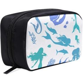 GGSXD メイクポーチ 美しい人魚 ボックス コスメ収納 化粧品収納ケース 大容量 収納 化粧品入れ 化粧バッグ 旅行用 メイクブラシバッグ 化粧箱 持ち運び便利 プロ用