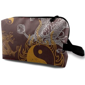 中国のスタイリッシュなドラゴン陰陽 ポーチ 旅行 化粧ポーチ 防水 収納ポーチ コスメポーチ 軽量 トラベルポーチ25cm×16cm×12cm