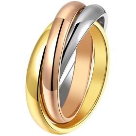 メンズ3-ringファッション高光沢ジュエリー低刺激性快適シンプルヴィンテージチタンスチールリングサイズ7to 9