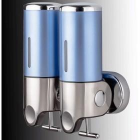 ホーム&キッチンバストイレ 浴室の壁の台紙の石鹸ディスペンサーのステンレス鋼の手ポンプ二重シャンプーの石鹸ディスペンサーの石鹸の容器 ソープ・シャンプー用ディスペンサー (Color : Azure, サイズ : Double)