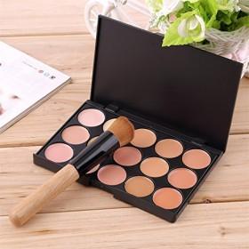 Professional Makeup tool set 15 Color Face Concealer Eyeshadow Palette + Wood Handle Flat Angled Brush kit Make up Set Free shipping