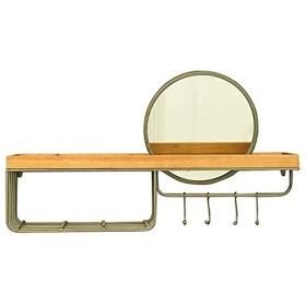 WYNZYYX ラウンド壁掛け化粧鏡とシェービングミラー壁掛け浴室用ミラー吊りフレームとフック装飾フレームフラットミラー