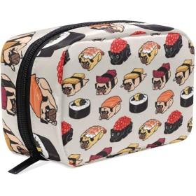 寿司 パグ 化粧ポーチ メイクポーチ 機能的 大容量 化粧品収納 小物入れ 普段使い 出張 旅行 メイク ブラシ バッグ 化粧バッグ