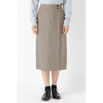 HUMAN WOMAN ウールチェックグミ加工ストレートスカート 0778220903