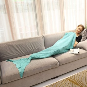 Lvtree マーメイド ブランケット ソファー ひざ掛け 寝袋 お昼寝毛布 冷房 防寒対策 人魚姫毛布 180 x 80 cm 可愛い 暖かい 柔らかい肌触り(ミントグリーン)