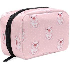 Carrozza 化粧ポーチ メイクボックス ポーチ 仕切り レディース 女の子 学生 おしゃれ 豚 動物 水玉柄 ピンク 化粧バッグ メイクポーチ 化粧ボックス コスメバッグ 小物ケース かわいい