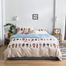 純粋な綿漫画寝具4ピース目に見えないジッパーベッドカバーシーツワイドサイド枕カバー用ホーム子供学生寮の部屋-F-c