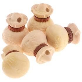 木製ビーズ 財布形 ペンダント キーホルダー 電話の飾り 手作り ネックレス 衣類装飾 5個入り 全3カラー - ツゲの木