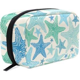 (VAWA) メイクポーチ 大容量 可愛い スター 海星 ストライプ 柄 化粧ポーチ コンパクト 機能 おしゃれ 携帯用 コスメ収納 仕切り ミニポーチ バニティーケース 洗面道具