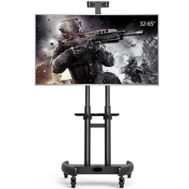 テレビスタンド キャスター付き 26-65インチ/型対応 液晶テレビ 壁寄せTVスタンド 高さ/角度調節可能 棚板付き 移動自由 大型テレビ台 家用/展示用