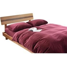 SORAVITA ベルベット 無地 寝具カバーセット(セミダブル)、掛け布団カバー、枕カバー、ボックスシーツ – 4点セット(ワイン)