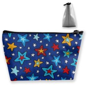 赤黄色の青い星 収納ポーチ 化粧ポーチ トラベルポーチ 小物入れ 小財布 防水 大容量 旅行 おしゃれ