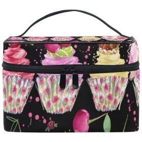 メイクポーチ 水彩豚 カップケーキ 化粧ポーチ 化粧箱 バニティポーチ コスメポーチ 化粧品 収納 雑貨 小物入れ 女性 超軽量 機能的 大容量