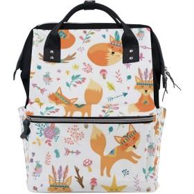 ママバッグ マザーズバッグ リュックサック ハンドバッグ 旅行用 秋の木ノ葉 フォックス 狐柄 可愛い ファション