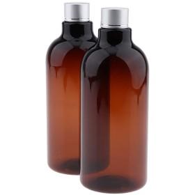 SM SunniMix 2本 メイクアップボトル ローション シャンプー 収納ボトル 詰め替え式コンテナ 3色選べ - 褐色