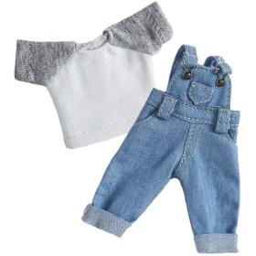 オビツ11 OB11 サイズ衣装 オビツドール 11cmボディ用 お洋服 デニム オーバーオール サロペット 半袖 かわいい シンプル 2点セット (ブルーA)