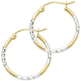 ソリッド14Kイエローホワイトゴールドファンシーフープイヤリングダイヤモンドカットサテンフレンチロック2つトーン20x 20mm