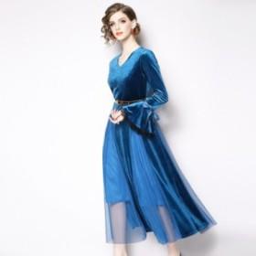 セレブ 着心地 パーティー ドレス ミモレ丈 ロング ワンピース 裾シースルー 透け感 きれいめ エレガント