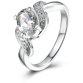 ウエディングリング 結婚指輪 スターリングシルバー 0.75ct ラウンド 4本爪 CZ シルバー リング CZ付き 0.75カラット サイズ:11 Aooaz