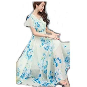 レディース マキシ ワンピース L 白 × 青 花柄 シフォン フレア袖 エレガント ドレス ワンピ