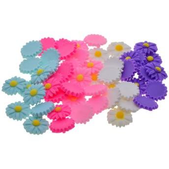 カボション フラットバック ボタン 手芸材料 ヘアアクセサリー・ブローチなど用 約50個 全6色 - カラー6