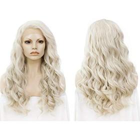 ウィッグ 女性用 ヨーロッパとアメリカの女性の長い巻き毛のフロントレースゴールドビッグウェーブケミカルファイバーヘアーウィッグヘアセット 良質