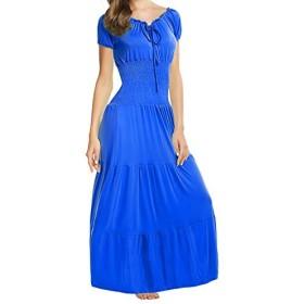 Meaneor Women Boho Cap Sleeve Smocked Waist Tiered Renaissance Summer Maxi Dress Blue XL [並行輸入品]