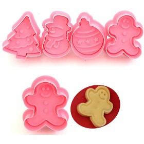 佳の菊 抜き型 4個 クリスマス雪だるまクリスマスツリークッキー型 ベーキングベー キング ツール クッキー型 セット
