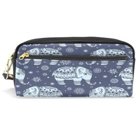 ALAZA エスニック ゾウ 鉛筆 ケース ジッパー Pu 革製 ペン バッグ 化粧品 化粧 バッグ ペン 文房具 ポーチ バッグ 大容量