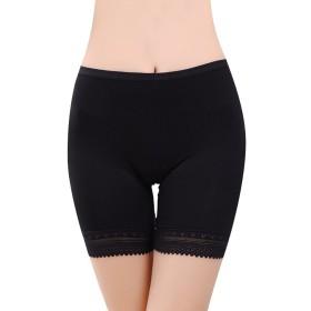 ペチコート パンツ インナー レディース 下着 レース付き 透けない 吸汗 伸縮性良い 柔らかい 快適 通気 女性 ショート 無地 4色(ブラック)