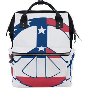LALATOP 平和のロゴプリント おむつ バックパック 旅行用 ママおむつバッグ 大容量 多機能 スタイリッシュ 耐久性 看護バッグ Lサイズ マルチカラー