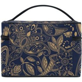 ユキオ(UKIO) メイクポーチ 大容量 シンプル かわいい 持ち運び 旅行 化粧ポーチ コスメバッグ 化粧品 抽象 花柄 レディース 収納ケース ポーチ 収納ボックス 化粧箱 メイクバッグ