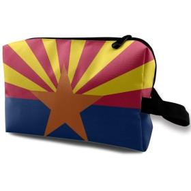 メイクポーチ アリゾナの旗 トラベルポーチ シングルファスナーポーチ 大容量 トラベル コンパクト 旅行収納バック 化粧品収納 便利グッズ 旅行・出張・家庭用