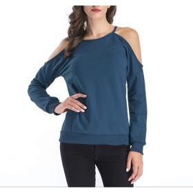 CXUNKK 女性の新しいラウンドカラーオフショルダートップカジュアルロングスリーブTシャツ (Color : Blue, Size : M)